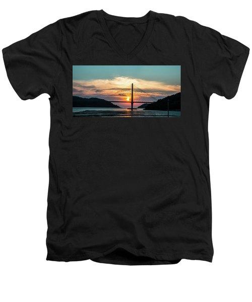 Sunset On The Bridge Men's V-Neck T-Shirt