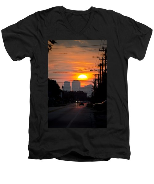 Sunset On The City Men's V-Neck T-Shirt