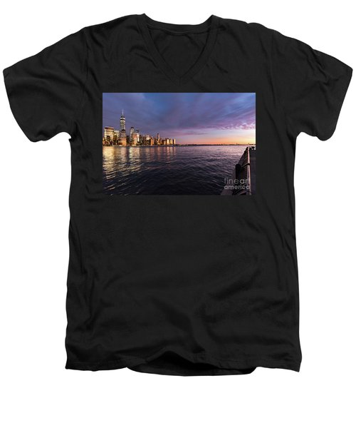 Sunset On The Hudson River Men's V-Neck T-Shirt
