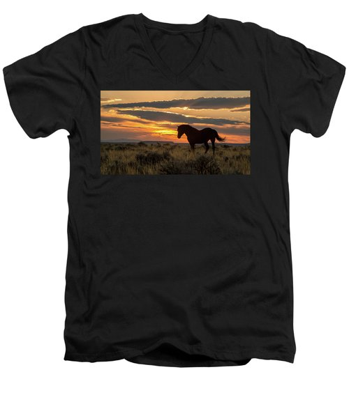 Sunset On The Mustang Men's V-Neck T-Shirt by Jack Bell