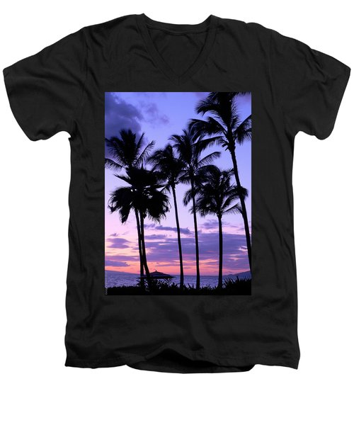 Men's V-Neck T-Shirt featuring the photograph Sunset On The Palms by Debbie Karnes