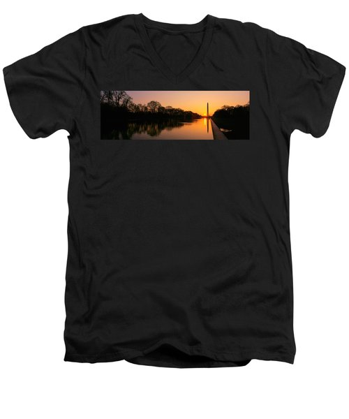 Sunset On The Washington Monument & Men's V-Neck T-Shirt by Panoramic Images