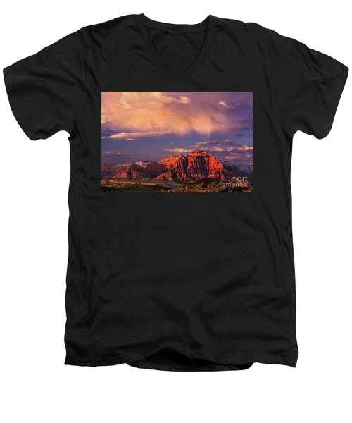 Sunset On West Temple Zion National Park Men's V-Neck T-Shirt by Dave Welling
