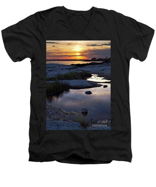 Sunset Over Boothbay Harbor Maine  -23095-23099 Men's V-Neck T-Shirt