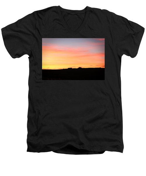 Men's V-Neck T-Shirt featuring the photograph Sunset Over Cairnpapple by RKAB Works
