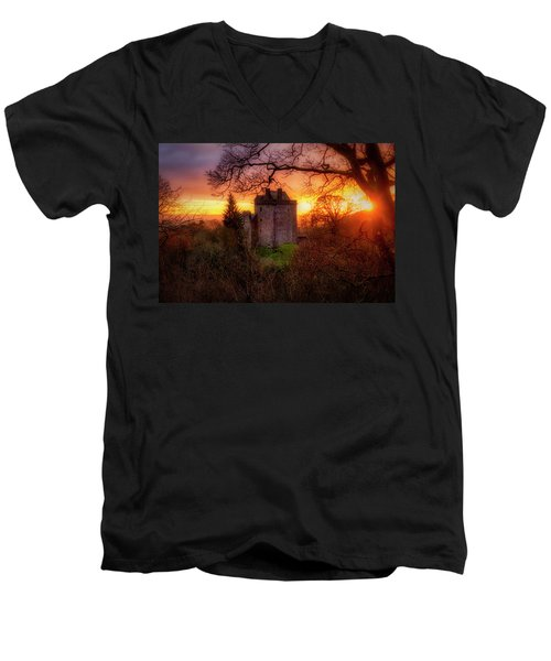 Men's V-Neck T-Shirt featuring the photograph Sunset Over Castle Campbell In Scotland by Jeremy Lavender Photography