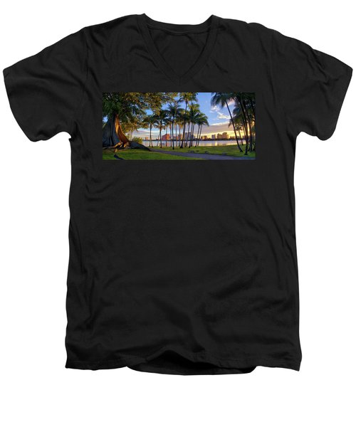 Sunset Over Downtown West Palm Beach From Palm Beach Island Men's V-Neck T-Shirt