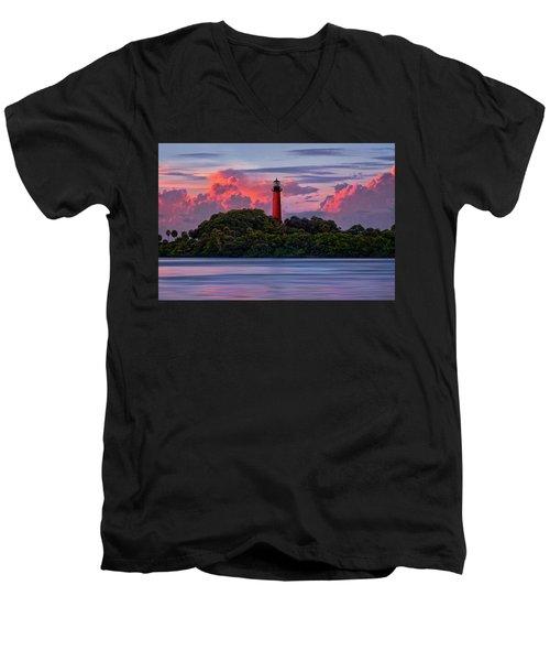 Sunset Over Jupiter Lighthouse, Florida Men's V-Neck T-Shirt by Justin Kelefas