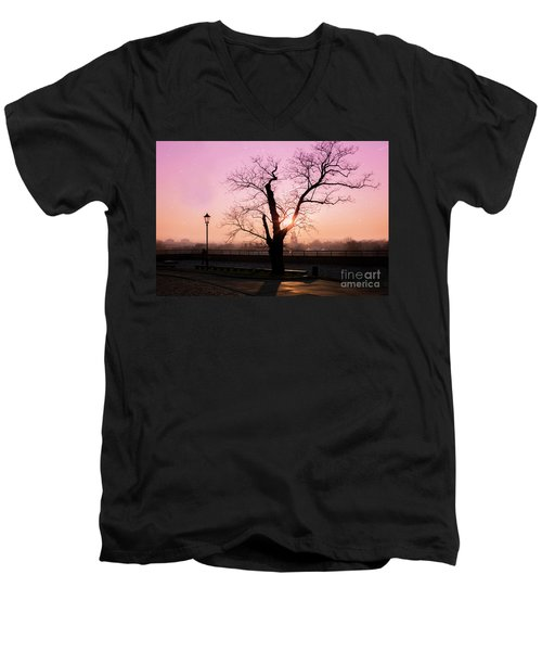 Men's V-Neck T-Shirt featuring the photograph Sunset Over Krakow by Juli Scalzi