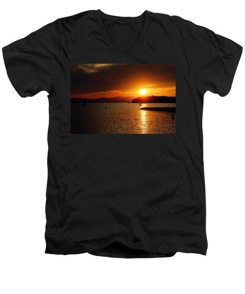 Sunset Over Lake Champlain Men's V-Neck T-Shirt