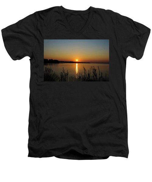 Men's V-Neck T-Shirt featuring the photograph Sunset Over Lake Norman by B Wayne Mullins