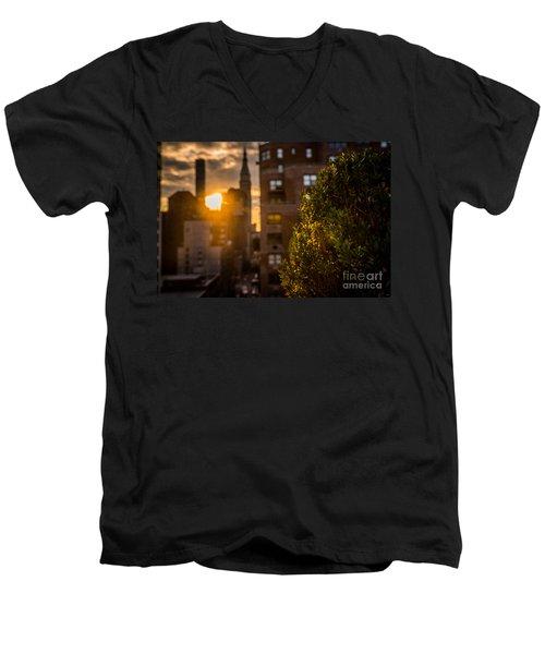 Sunset Over Manhattan New York City Men's V-Neck T-Shirt