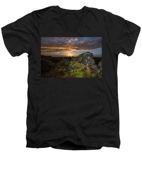 Sunset Over Marsh Men's V-Neck T-Shirt by Joe Belanger