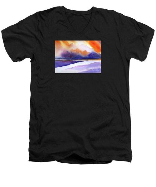 Men's V-Neck T-Shirt featuring the painting Sunset Over Marsh by Yolanda Koh