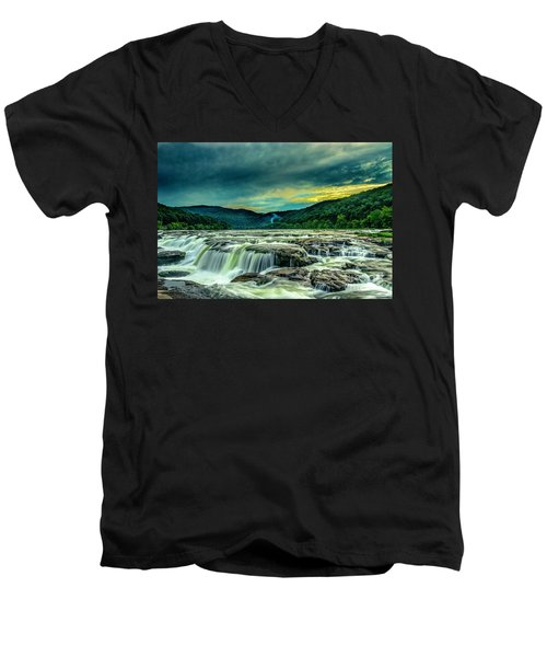 Sunset Over Sandstone Falls Men's V-Neck T-Shirt