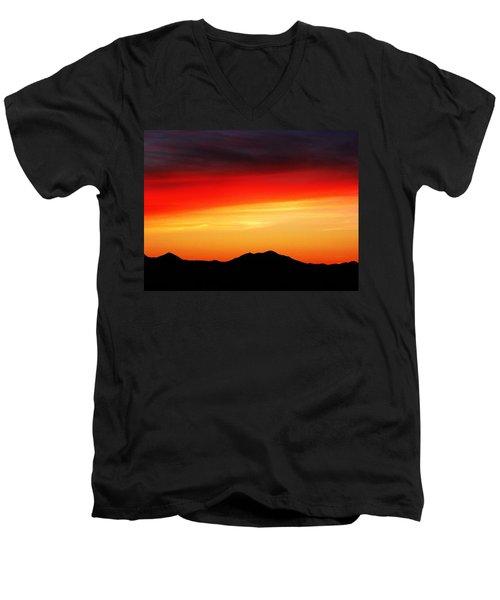 Sunset Over Santa Fe Mountains Men's V-Neck T-Shirt by Joseph Frank Baraba