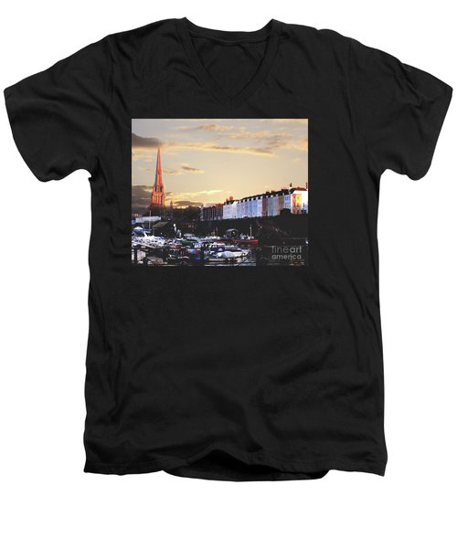 Men's V-Neck T-Shirt featuring the photograph Sunset Over St Mary Redcliffe Bristol by Terri Waters