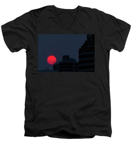 Sunset Over The City Of Portland Oregon Men's V-Neck T-Shirt