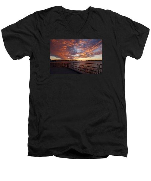 Sunset Over The Manasquan Inlet 2 Men's V-Neck T-Shirt by Melinda Saminski