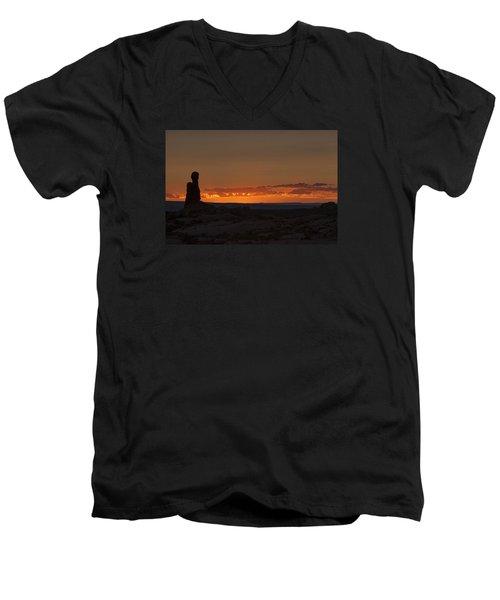 Sunset Over The Petrified Dunes Men's V-Neck T-Shirt