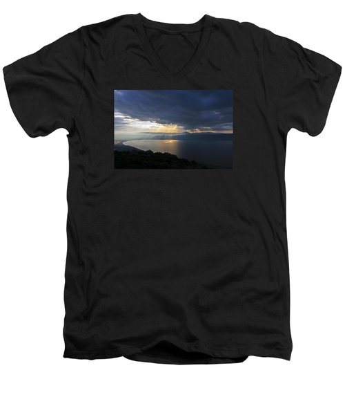 Men's V-Neck T-Shirt featuring the photograph Sunset Over The Sea Of Galilee by Dubi Roman