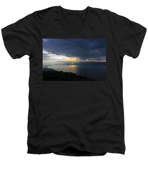 Sunset Over The Sea Of Galilee Men's V-Neck T-Shirt