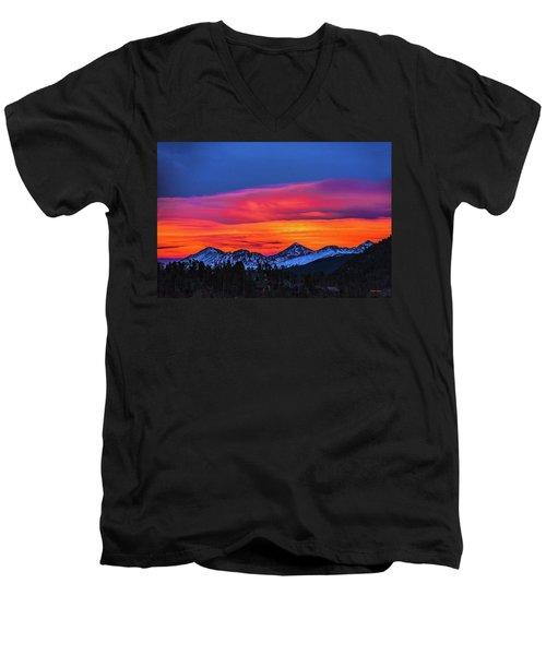 Sunset Over Torreys And Grays Peaks Men's V-Neck T-Shirt
