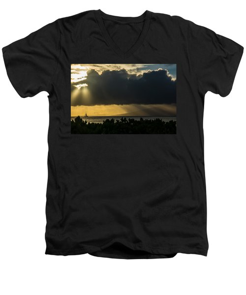 Men's V-Neck T-Shirt featuring the photograph Sunset Sail by Colleen Coccia