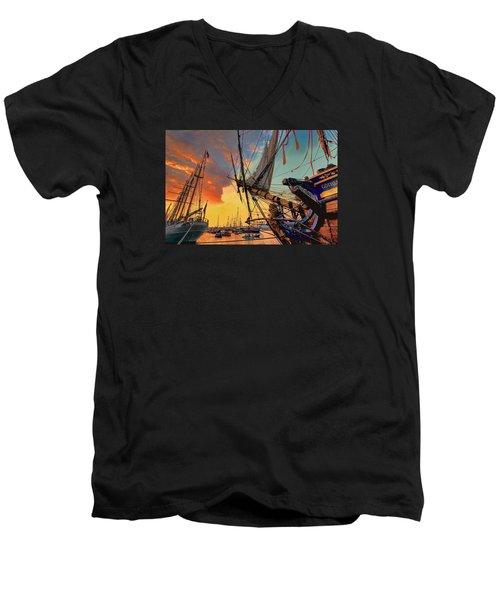 Sunset Sail Men's V-Neck T-Shirt by Nadia Sanowar