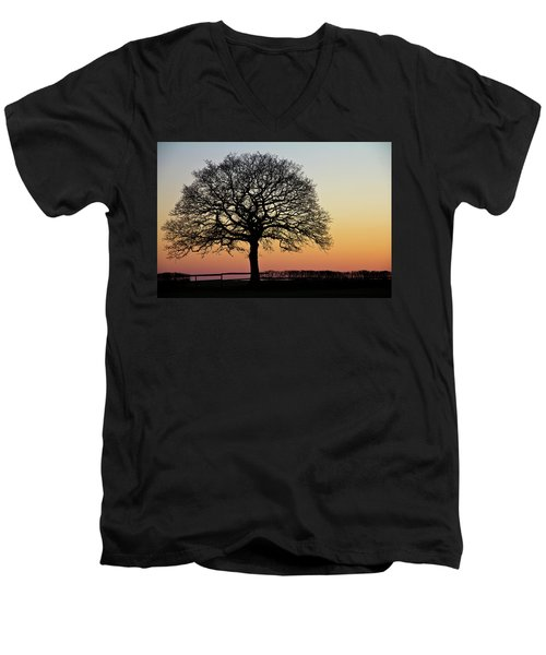 Men's V-Neck T-Shirt featuring the photograph Sunset Silhouette by Clare Bambers