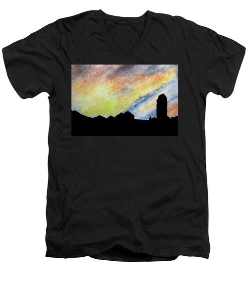 Sunset Silhouetted Farmstead Men's V-Neck T-Shirt