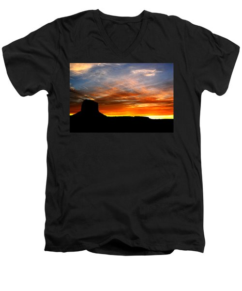 Men's V-Neck T-Shirt featuring the photograph Sunset Sky by Harry Spitz