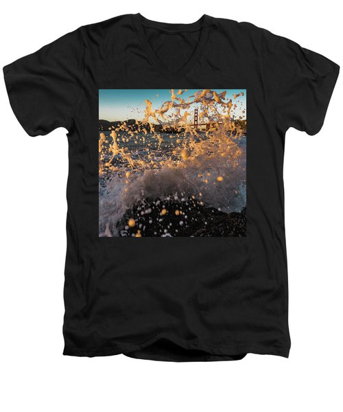 Sunset Splash Men's V-Neck T-Shirt by Alpha Wanderlust
