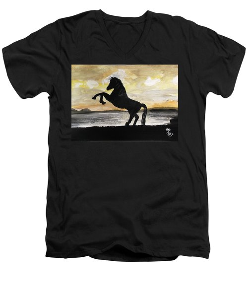 Sunset Stallion Men's V-Neck T-Shirt by Carole Robins