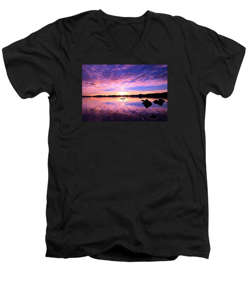 Sunset Supper Men's V-Neck T-Shirt by Sean Sarsfield