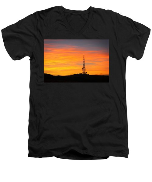Men's V-Neck T-Shirt featuring the photograph Sunset Tower by RKAB Works