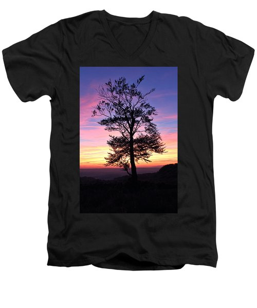 Men's V-Neck T-Shirt featuring the photograph Sunset Tree by RKAB Works