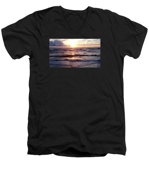 Sunset Waves 1 Men's V-Neck T-Shirt by Vicky Tarcau