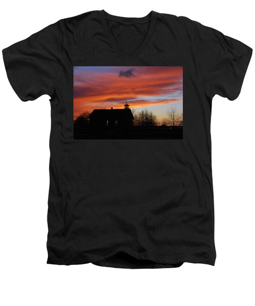 Sunsetting Behind The Historic Schoolhouse. Men's V-Neck T-Shirt