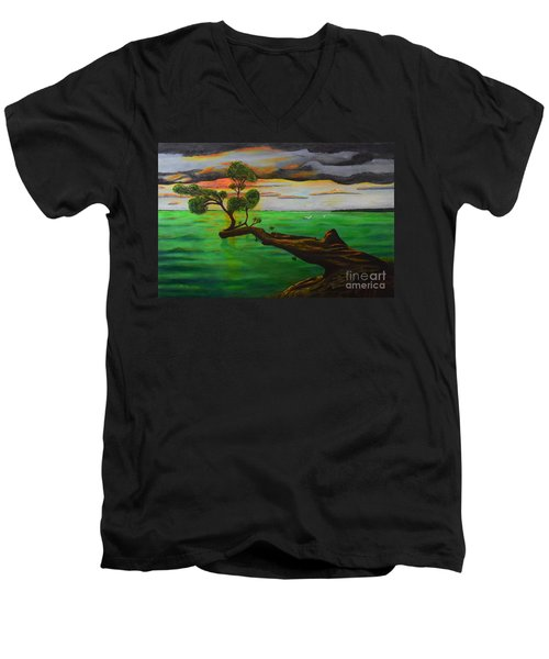 Men's V-Neck T-Shirt featuring the painting Sunsetting by Melvin Turner
