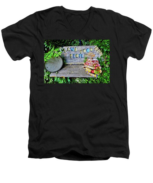 Men's V-Neck T-Shirt featuring the painting Sunshine Bench by Joan Reese