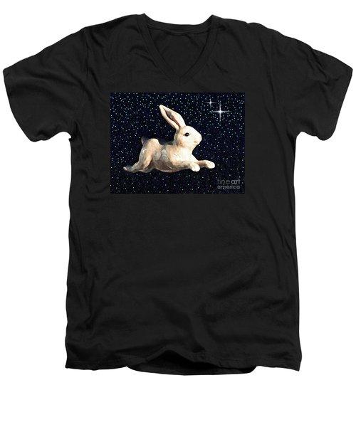 Super Bunny Men's V-Neck T-Shirt by Sarah Loft