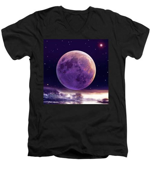 Super Cold Moon Over December Men's V-Neck T-Shirt
