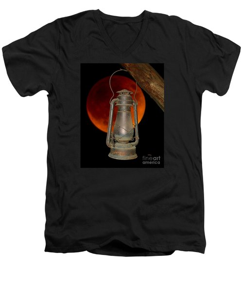 Eerie Light Of An Eclipsed Super-moon Men's V-Neck T-Shirt