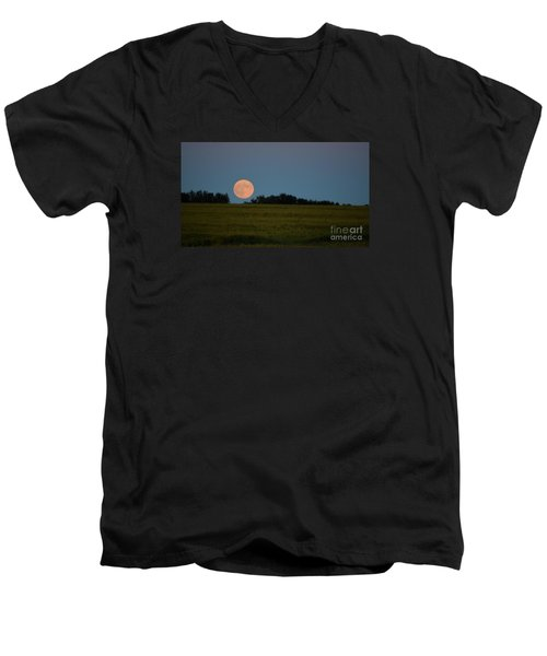 Men's V-Neck T-Shirt featuring the photograph Super Moon Over A Bean Field by Mark McReynolds