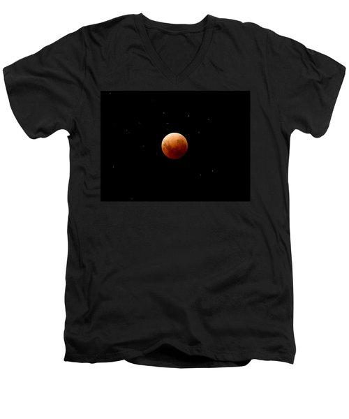 Super Red Blue Moon Eclipse Men's V-Neck T-Shirt