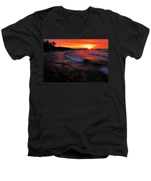 Superior Sunrise 2 Men's V-Neck T-Shirt by Larry Ricker