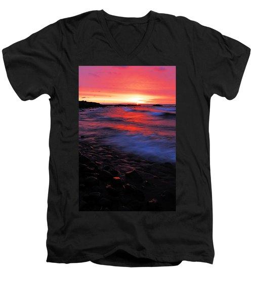 Superior Sunrise Men's V-Neck T-Shirt by Larry Ricker