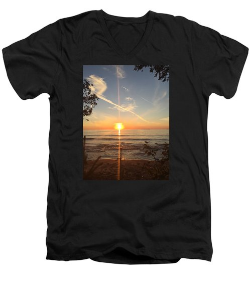 Men's V-Neck T-Shirt featuring the photograph Superior Sunset by Paula Brown
