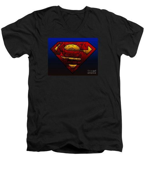 Superman Doomsday Shield  Men's V-Neck T-Shirt by Justin Moore